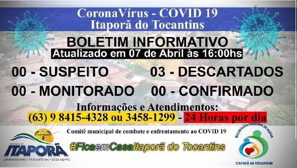 Boletim Informativo COVID 19 Itaporã do Tocantins dia 07 de Abril