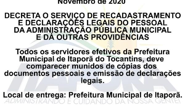SERVIÇO DE RECADASTRAMENTO E DECLARAÇÕES LEGAIS DO PESSOAL DA ADMINISTRAÇÃO PÚBLICA MUNICIPAL